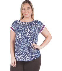 camisa adrissa plus estampada