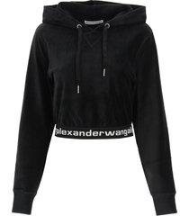 alexander wang crop sweatshirt in corduroy with logo