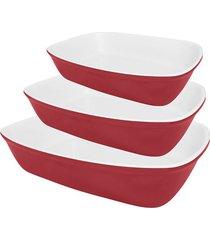 conjunto de travessas bake oxford vermelha de porcelana com 3 peças