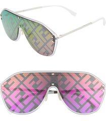 women's fendi 155mm logo lens shield sunglasses - silver/ purple/ rainbow