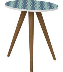 mesa lateral 500 branco/estampa azul be mobiliã¡rio - azul - dafiti