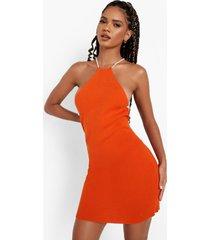 gekruiste gebreide jurk met open rug en naaddetail, orange