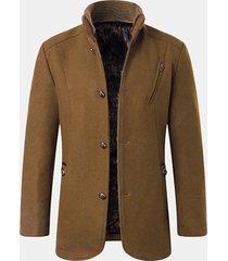 cappotto in lana monopetto casual da uomo con colletto patchwork
