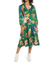 women's maggy london floral long sleeve midi dress, size 8 - green