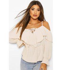 cold shoulder linen blouse, stone