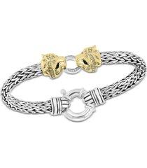 effy diamond (1/4 ct. t.w.) & tsavorite accent panther mesh bracelet in sterling silver & 14k gold-plate