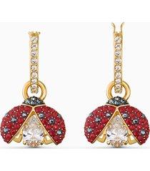 orecchini swarovski sparkling dance ladybug, rosso, placcato color oro