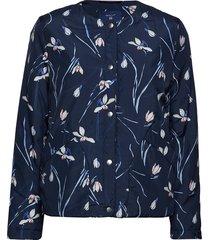 o2. printed collarless jacket zomerjas dunne jas blauw gant