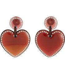 jewel stitched heart earrings