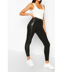 high waist wet look panel legging, black