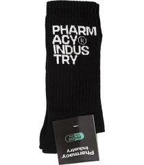 pharmacy industry man black socks with white logo