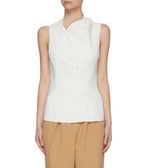 'benton' structured collar side pleat sleeveless top