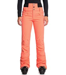 women's roxy rising high snow pants, size large - coral