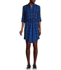 rag & bone women's beck belted plaid shirtdress - blue black - size xs