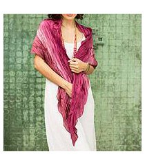 silk scarf, 'rose magnificence' (thailand)