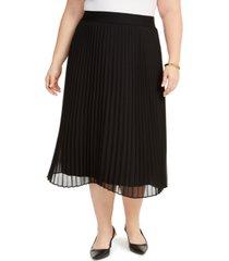 alfani plus size pleated midi skirt, created for macy's