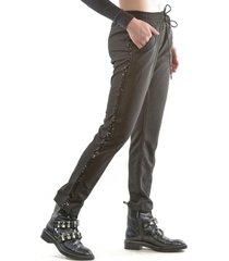 pantalón italiano franja brillo negro bous