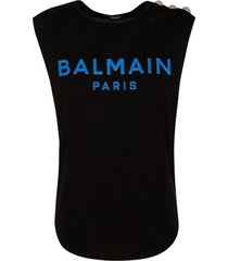 balmain logo print embellished shoulder tank top