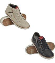 kit tênis cano médio + sapatênis conforto masculino - masculino