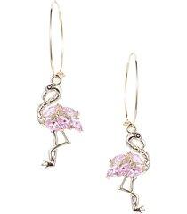 eye candy la women's luxe goldtone & pink crystal flamingo dangle earrings