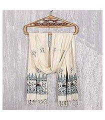 madhubani silk scarf, 'elephant harmony' (india)