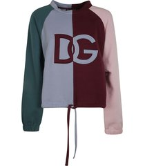 dolce & gabbana tie-waist colourblock logo sweatshirt