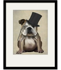 "courtside market english bulldog, formal hound and hat 20"" x 24"" framed and matted art"