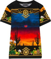 young versace t-shirt with baroque multicolor press
