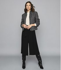 reiss suri - textured zip through jacket in black/white, womens, size 10