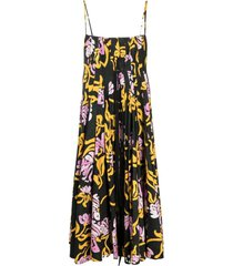 marni graphic-print pleated midi dress