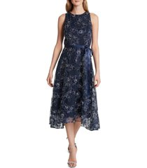 tahari asl embroidered mesh midi dress