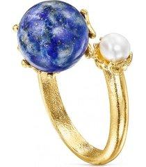anillo de plata vermeil lapislazuli y perla ocean color tous