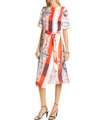 women's st. john collection mariner print silk twill midi dress