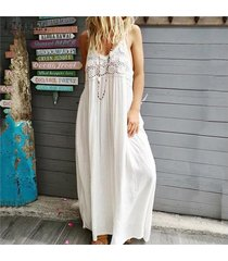 zanzea vestido largo de patchwork de encaje con correa de verano para mujer vestidos largos de cóctel -blanco