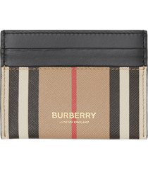 women's burberry sandon canvas & leather card case - beige