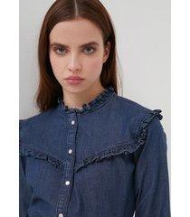 motivi camicia motivo carrè in denim donna blu