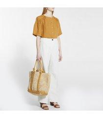 camicetta con bottoni in cotone e lino