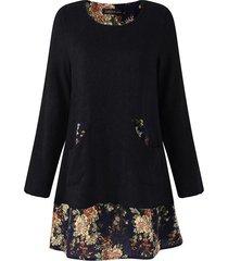 zanzea floral de las señoras mini vestido flojo ocasional de gran tamaño jumper prendas de punto suéter superior largo tamaño negro -negro