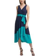 dkny colorblocked faux-wrap dress