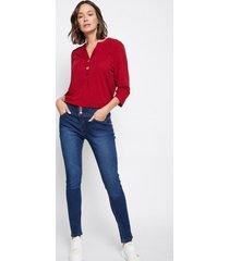 jeans 3 botones pitillo push up family shop