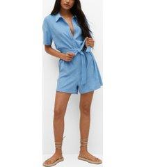 mango women's towel texture cotton jumpsuit