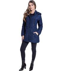 jaqueta sobretudo acolchoado chillan bolso com zíper capuz removível azul marinho