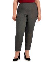 alfani plus size jacquard skinny pants, created for macy's