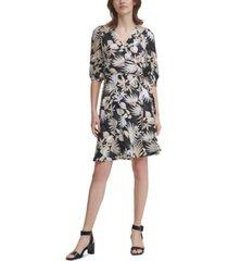 calvin klein tropical-print a-line dress