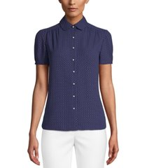 anne klein button-up woven blouse