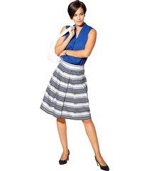randig kjol med lagda veck amy vermont vit