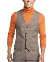 paisley & gray slim fit suit separates vest tan & blue plaid