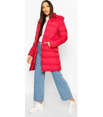 faux fur trim longline padded jacket, red