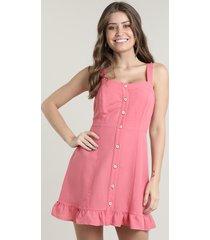 vestido feminino curto com linho e botões alça média rosa escuro