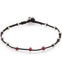 'lusso' ruby bead silver macramé bracelet